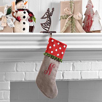 Polka Dot Monogram N Stocking