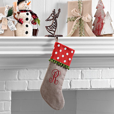 Polka Dot Monogram R Stocking
