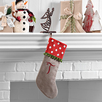 Polka Dot Monogram T Stocking