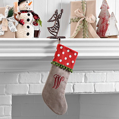 Polka Dot Monogram W Stocking