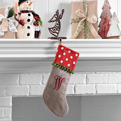 Polka Dot Monogram W Stocking