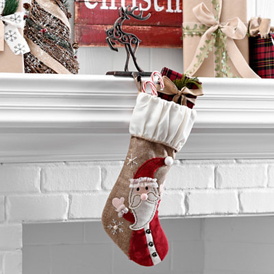 Burlap Santa Character Stocking