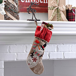 Burlap Snowman Character Stocking