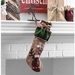 Burlap Reindeer Character Stocking