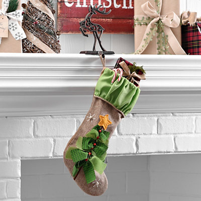 Burlap Christmas Tree Stocking