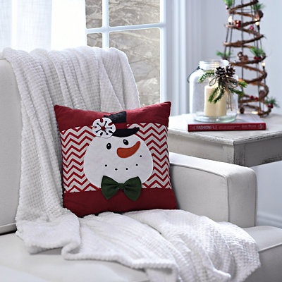 Snowman Chevron Pillow