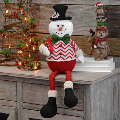 Chevron Snowman Shelf Sitter