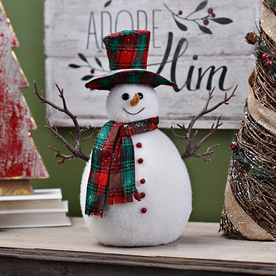 Plaid Snowman Figurine