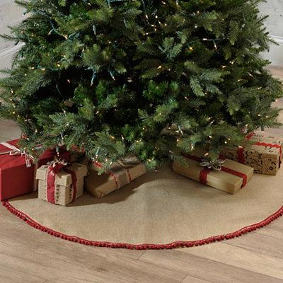 Burlap Pom Pom Tree Skirt