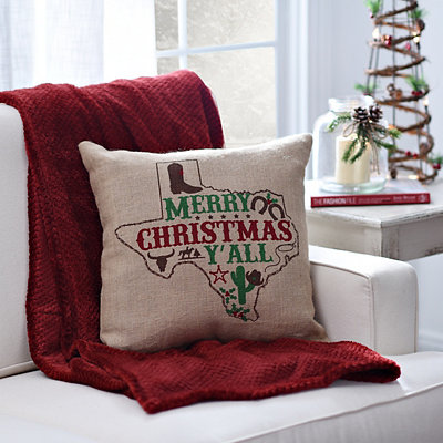 Merry Christmas Y'all Texas Pillow