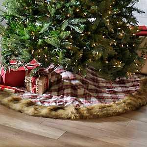 Red Plaid Fur Tree Skirt