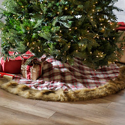 Red Plaid Fur Tree Skirt