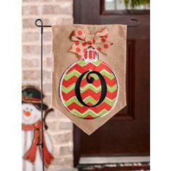 Chevron Ornament Monogram O Burlap Flag Set