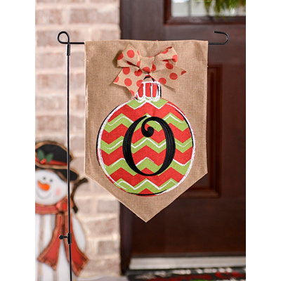 Christmas Chevron Monogram O Flag Set