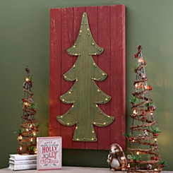 Pre-Lit Christmas Tree Wood Plank Plaque