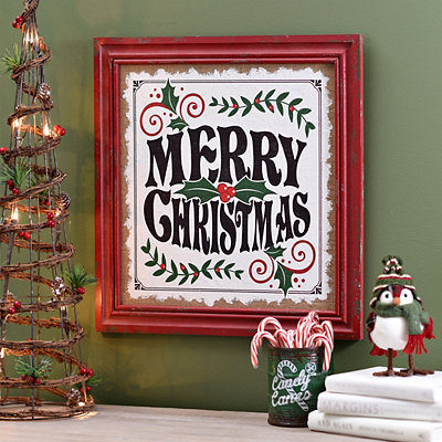 Merry Christmas Framed Wooden Plaque
