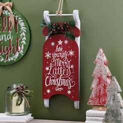 Pre-Lit Merry Little Christmas Sleigh Plaque