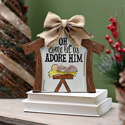 Let Us Adore Him Manger Plaque