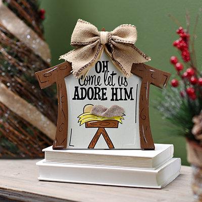 Let Us Adore Him Manger Plaque