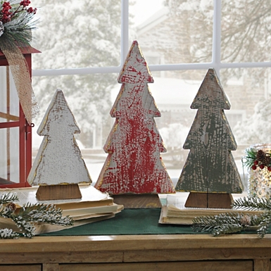 weathered wood christmas trees set of 3 - Wood Christmas Tree
