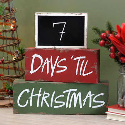 Christmas Countdown Chalk Word Blocks, Set of 3