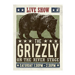 The Grizzly on the River Stage Canvas Art Print