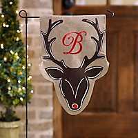 Burlap Reindeer Monogram Flag Set