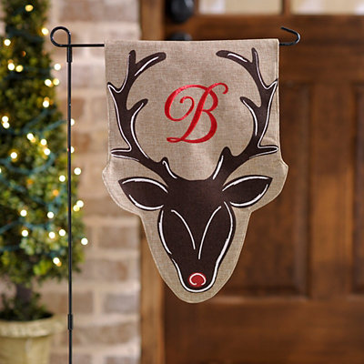 Burlap Reindeer Monogram B Flag Set