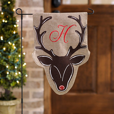 Burlap Reindeer Monogram H Flag Set