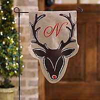 Burlap Reindeer Monogram N Flag Set