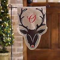 Burlap Reindeer Monogram O Flag Set