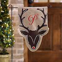 Burlap Reindeer Monogram P Flag Set