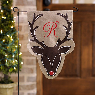 Burlap Reindeer Monogram R Flag Set