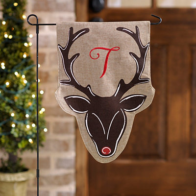 Burlap Reindeer Monogram T Flag Set