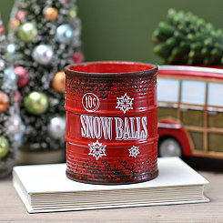 Red Ceramic Snow Balls Jar