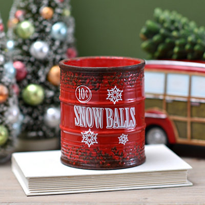 Red Ceramic Snow Balls Jar