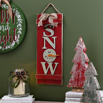 Red Wood Snow Plank Hanging Sign