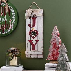 White Wood Joy Plank Hanging Sign