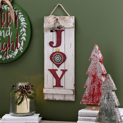 White Wood Joy Plank Hanging Sign