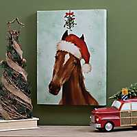 Santa Hat Horse Canvas Art Print