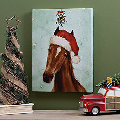 Santa Hat Horse Canvas Art Print