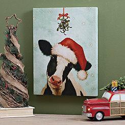 Santa Hat Cow Canvas Art Print