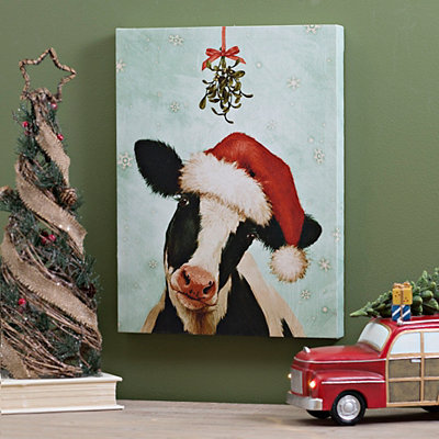 Santa Hat Cow Canvas Art Print
