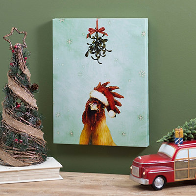 Santa Hat Rooster Canvas Art Print