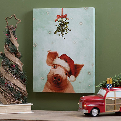 Santa Hat Pig Canvas Art Print