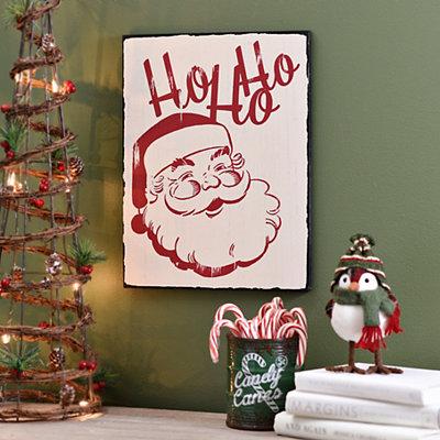 Ho Ho Ho Vintage Santa Claus Wall Plaque