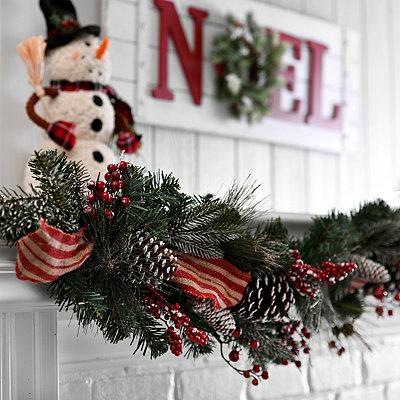 Burlap Laced Pine Berry Garland