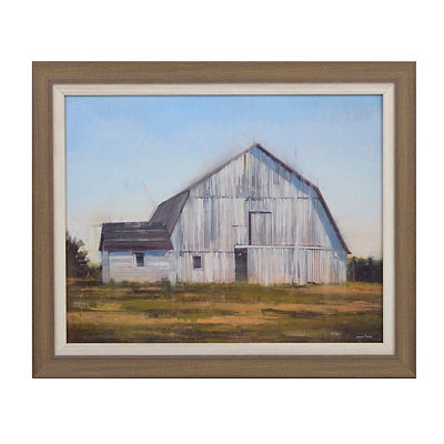 White Countryside Barn Framed Art Print