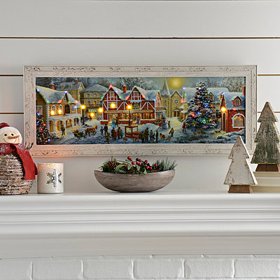 LED Small Town Christmas Night Framed Art Print