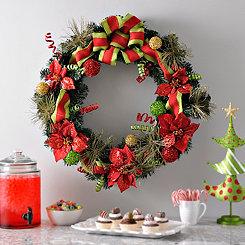 Burlap Pine Poinsettia Wreath